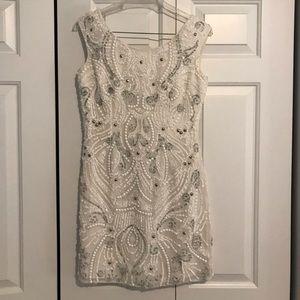White beaded formal dress